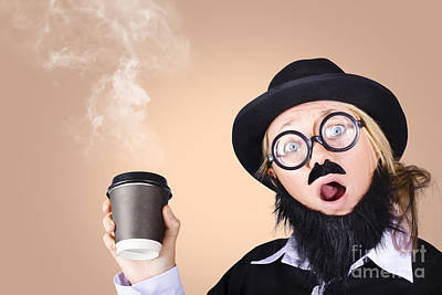 Surprised Business Person High On Coffee Art Print by Jorgo Photography - Wall Art Gallery