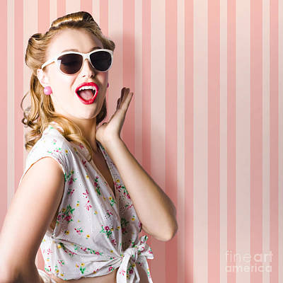 Earrings Photograph - Surprised Girl In Retro Fashion Style Glamur by Jorgo Photography - Wall Art Gallery