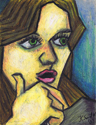 On Paper Painting - Surprised Girl by Kamil Swiatek