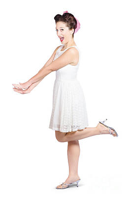 Surprised Housewife Kicking Up Leg In White Dress Print by Jorgo Photography - Wall Art Gallery
