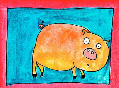 Painting - Surprised Pig by Nick Abrams Age Thirteen
