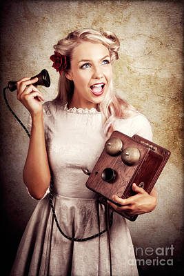 Surprised Telephone Operator With Good Or Bad News Art Print by Jorgo Photography - Wall Art Gallery