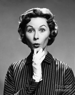 Surprised Woman, C.1950s-60s Art Print