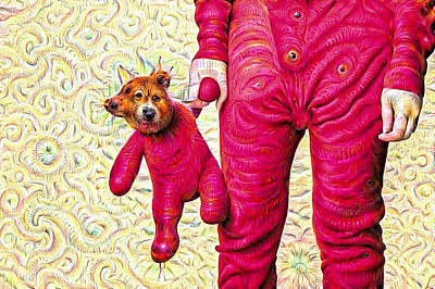 Mixed Media - Surreal And Trippy Pink Deep Dream Picture by Matthias Hauser