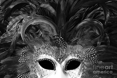 Photograph - Surreal Black White Mask - Gothic Surreal Costume Black Mask - Surreal Masquerade Face Mask  by Kathy Fornal