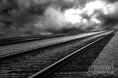 Photograph - Surreal Black White Railroad Tracks - Railroad Tracks Infrared Photography by Kathy Fornal