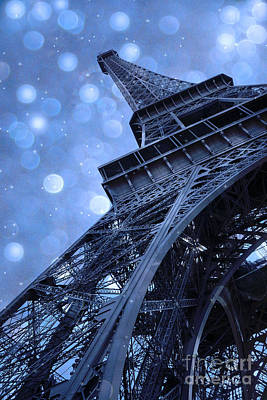 Surreal Blue Eiffel Tower Architecture - Eiffel Tower Sapphire Blue Bokeh Starry Sky Print by Kathy Fornal