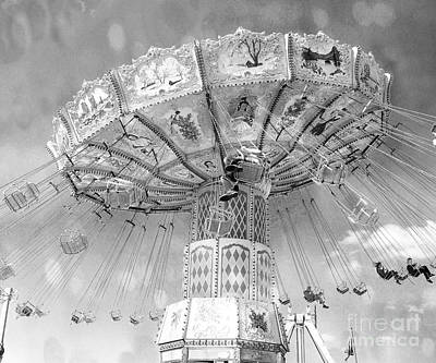 Art Print featuring the photograph Surreal Carnival Rides - Carnival Rides Ferris Wheel Black And White Photography Prints Home Decor by Kathy Fornal