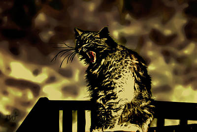 Photograph - Surreal Cat Yawn by Gina O'Brien