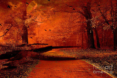 Surreal Dreamy Nature Photograph - Surreal Fantasy Autumn Fall Orange Woods Nature Forest  by Kathy Fornal