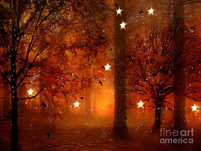 Surreal Dreamy Nature Photograph - Surreal Fantasy Autumn Woodlands Starry Night by Kathy Fornal