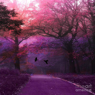 Surreal Nature Photograph - Surreal Fantasy Dark Pink Purple Nature Woodlands Flying Ravens  by Kathy Fornal