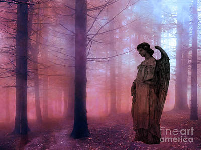 Surreal Fantasy Fairytale Angel In Foggy Woodlands - Ethereal Angel Art Art Print by Kathy Fornal