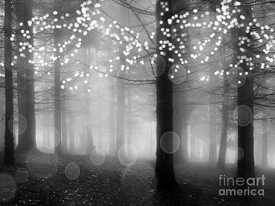 Photograph - Surreal Fantasy Fairytale Black White Fairylights Sparkling Trees Nature Woodlands Print Home Decor by Kathy Fornal