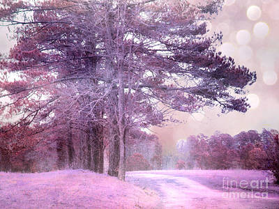 Surreal Nature Photograph - Surreal Fantasy Fairytale Purple Lavender Nature Landscape - Fantasy Lavender Bokeh Nature Trees by Kathy Fornal