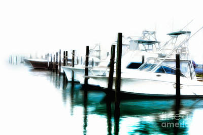 Painting - Surreal Fishing Boats In Outer Banks Marina Ap by Dan Carmichael