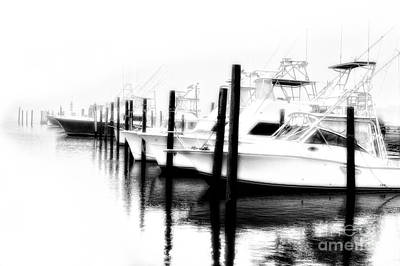 Photograph - Surreal Fishing Boats In Outer Banks Marina Bw by Dan Carmichael