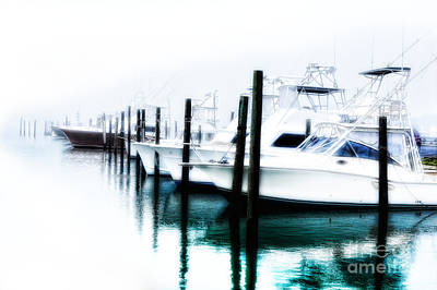 Oregon Inlet Photograph - Surreal Fishing Boats In Outer Banks Marina by Dan Carmichael