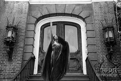 Photograph - Surreal Gothic Black And White Female Figure Black Cape - Haunting Spooky Surreal Black White Art by Kathy Fornal