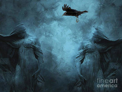 Surreal Gothic Cemetery Mourners And Raven Art Print by Kathy Fornal