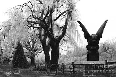 Surreal Gothic Gargoyle Black And White Tree Infrared Landscape  Art Print by Kathy Fornal
