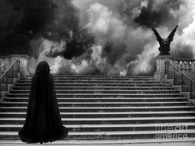 Nature Scene Photograph - Surreal Gothic Infrared Black Caped Figure With Gargoyle On Paris Steps by Kathy Fornal