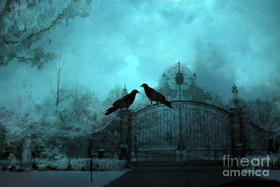 Surreal Gothic Ravens Fantasy Art Gate Scene Art Print by Kathy Fornal
