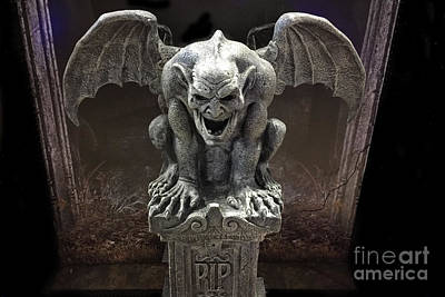 Fantasy Surreal Spooky Photograph - Surreal Gothic Spooky Haunting Scary Dark Gothic Gargoyle On Pedestal - Gargoyle Halloween Print    by Kathy Fornal