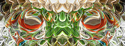 Surrealism Digital Art Rights Managed Images - Surreal Green Face - Panoramic Royalty-Free Image by Jason Freedman
