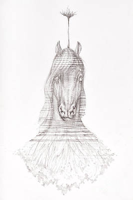 Textured Horse Art Drawing - Surreal Hand Drawing Of A Horse Decorative Artwork  - Cebanenco Stanislav by Cebanenco Stanislav