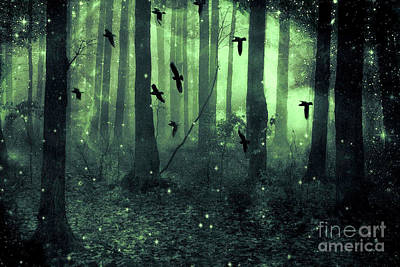 Photograph - Surreal Haunting Fantasy Green Woodlands Trees Flying Ravens Stars Fairylights Sparkling Nature  by Kathy Fornal