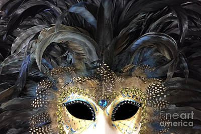 Photograph - Surreal Haunting Gothic Masquerade Mask Art Print - Black Gold Mask Costume Home Decor by Kathy Fornal