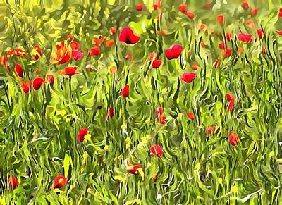 Painting - Surreal Hypnotic Poppies by Tracey Harrington-Simpson