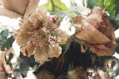 Surreal Impressionistic Green Peach Floral Prints - Romantic Watercolor Peach Green Floral Decor Art Print