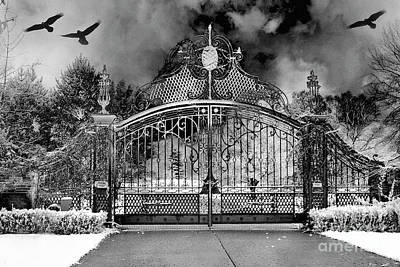 Photograph - Surreal Infrared Gate Gothic Ravens - Black White Gothic Gate With Ravens by Kathy Fornal