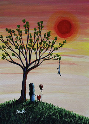 One Of A Kind Painting - Surreal Landscape Art With Tree Of Life by Shawna Erback