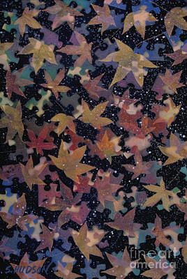 Painting - surreal landscape with autumn leaves - Autumn Sky by Sharon Hudson