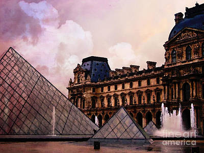 Surreal Paris Decor Photograph - Surreal Louvre Museum Pyramid Watercolor Paintings - Paris Louvre Museum Art by Kathy Fornal