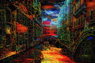 Mixed Media - Surreal Night In Venice by Lilia D