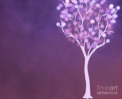 Photograph - Surreal Purple Bokeh Lit Tree by Juli Scalzi