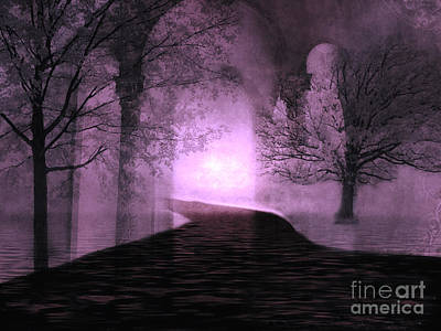 Surreal Purple Fantasy Nature Path Trees Landscape  Art Print by Kathy Fornal