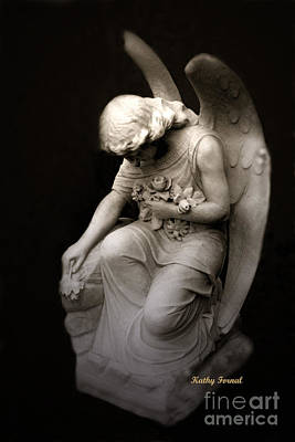 Photograph - Surreal Sad Angel Kneeling In Prayer by Kathy Fornal