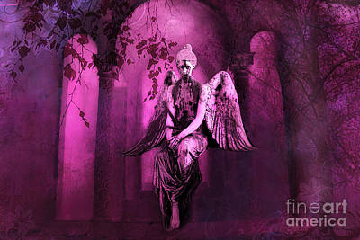 Surreal Sad Gothic Angel Purple Pink Nature - Haunting Sad Angel In Woods Art Print by Kathy Fornal