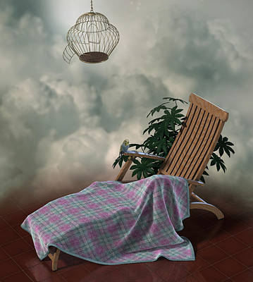 Charming Cottage Digital Art - Surreal Scene Of Chair With Blanket And Little Parrot by Fabiana Kofman