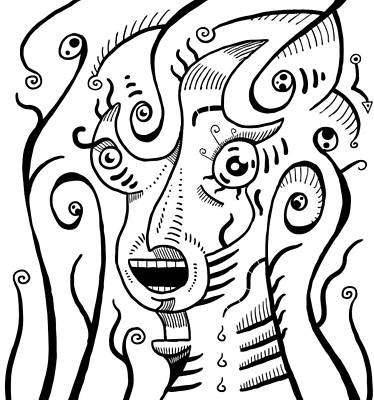 Drawing - Surrealism Scream Black And White by Sotuland Art