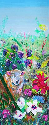 Mixed Media - Surreal Sheep And Flowers - Hiding In The Garden by Mike Jory