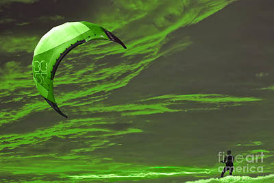 Surrealism Royalty-Free and Rights-Managed Images - Surreal Surfing green by Terri Waters