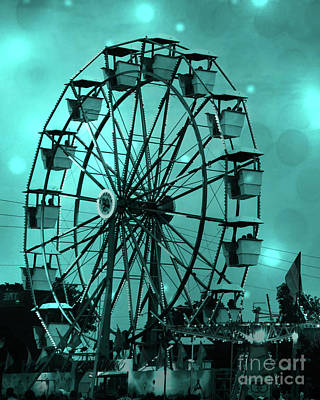 Photograph - Surreal Teal Green Aqua Carnival Ferris Wheel - Carnival Festival Fair Home Decor by Kathy Fornal