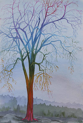 Chakra Rainbow Painting - Surreal Tree No. 3 by Debbie Homewood