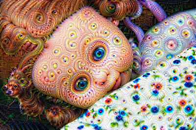 Mixed Media - Surreal Trippy Deep Dream Doll by Matthias Hauser